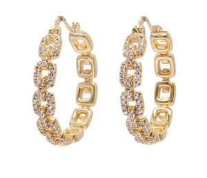 High Quality Golden Classic Brass Jewelry Copper O Letter Chain Earrings Hoops Huggies Inlaid with Crystal Zircon