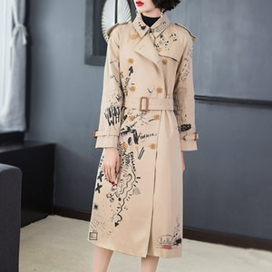 Fashion Tide Autumn New High Quality Casual Fashion Women Loose Plus Printing Double-breasted Lapel Trench Coat TC719 201124
