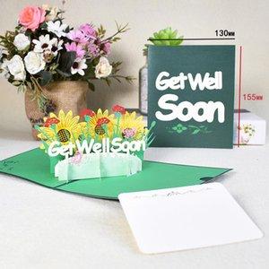 10 Pack Sympathy Card Pop Up Flowers Tarjetas para simpatía Recibe bien pronto tarjetas de felicitación para mujeres hombres niños al por mayor WMTRZO Lottery2010