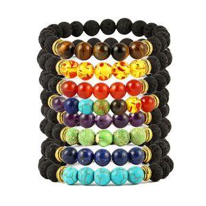 Lava Rock Bracelet Yoga Aromatherapy Essential Oil Diffuser Volcanic Stone Bead Bangle for Women Men Gift 8 Styles Kimter-X935FZ