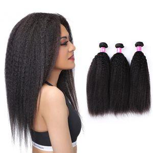 Virgin Brazilian kinky прямые волосы плетение 1b черные реми Crarse yaki волосы уток волос 3 пакета / лота forawme человеческие волосы афро плететь бесплатная доставка