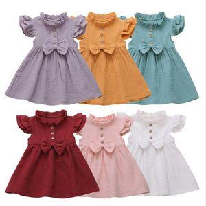 Baby Girls Children Bow Ruffle Princess Vestido Sólido Fly Mangas Patchwork Tutu Vestidos Infantil Partido de verano Fiesta de cumpleaños BYP461