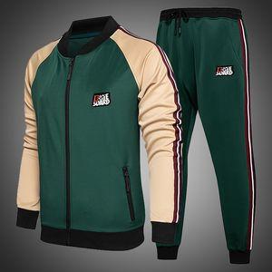 Mens Tracksuit Set Two Piece Tracksuit Men Sports Wear Fashion Colorblock Jogging Suit Autumn Winter Men Outfits Gym CLothes Men 201119