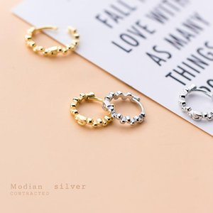 Modian Classic Gold Color Hoop Earring for Women Gift Sterling Silver 925 Light Beads Elegant Earring Fine Jewelry Accessories