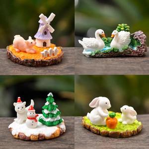 BAIUFOR Cute Animal Miniature Seasons Landscape Ornaments Puppy Swan Piglet Aquarium Resin Craft Home Desktop Decoration