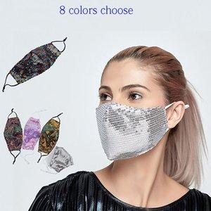 Luxe bling bling Paillettes visage masque anti-poussière lavable coupe-vent réutilisable Masque Masque élastique respirant Can Insérer un filtre HH9-3104