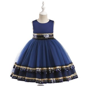 New Sequins Formal Evening Wedding Ball Gown Princess Girls Dress Children Clothing Kids Party For Girl Clothes 3-9 years Z1127