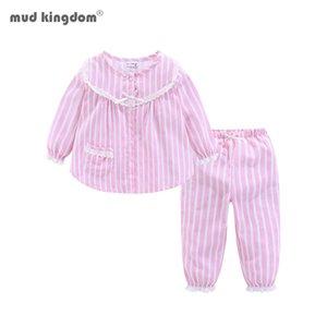 Mudkingdom Girls Stripe vertical Pijamas Pajamas Botón de algodón Cuff Cute Home Wear 201104