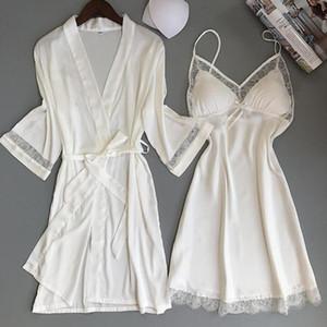 Sexy Lingerie Set Sexy Rayon Kimono Bathrobe White Robe Sets Lace Trim Sleepwear Casual Home Clothes Nightwear