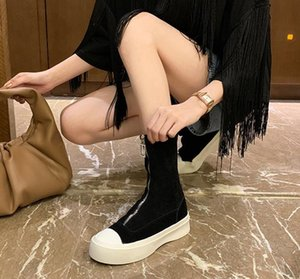 Spring Autumn Women Fashion Ankle Boots Round head Zipper Ladies Roman Style Thick Black Retro Thick-soled Women Shoes