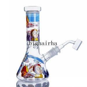 2020 New Blue Glass Beaker Bong Recycler Tobacoo Hookah Shisha Perc Water Pipe Dab Rig Burner Oil Pipes Smoking Tool With 14MM Male Joint