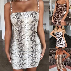 Trendy Womens Bandage Dress Sexy Bodycon Sleeveless Party Cocktail Club Short Mini Dresses Leopard Snake Print Summer Dress