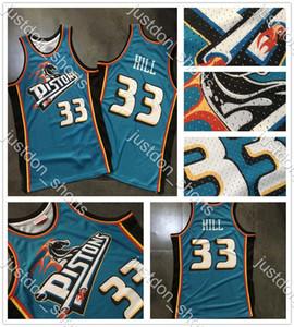 Maillots de basketball de qualité supérieure pour hommes Grant 33 Hill Dense Tissu Tissu rétro T-shirts numériques Basketball Basketball Shirts