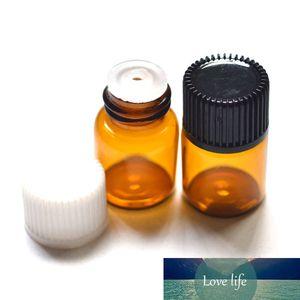100pcs 2ml Mini Amber Glass Bottle With Plastic Cap Insert 2cc Sample Vials For Essential Oil Perfume Liquid