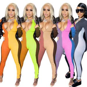 Kadın Tulum Tasarımcısı 2020 Şerit Seksi Ekleme Zarif Sıska Bodysuit Kazak Rahat Tek Parça Pantolon Clubwear Bayanlar Yeni Tulum