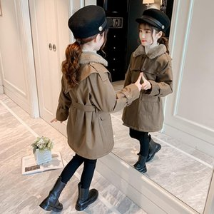Girls Trench Coats Plus Velvet Warm Teens Outerwear Double Breasted Long Jacket For Girls Clothing Solid Tops Kids Windbreaker