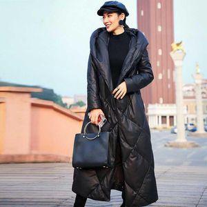 Genuine Leather Jacket 2020 Winter Women's Brand Warm Belt Leather Down Jacket Hooded Long Thick Sheepskin Coat Plus Size M 3XL