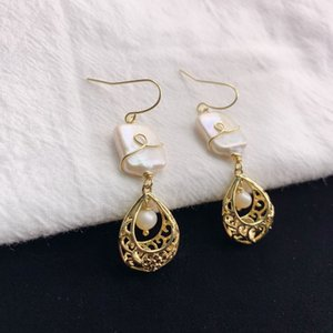 eX2Qz New natura baroque square pear Handmade Pearl earrings l earrings handmade personalized elegant jewelry all-match fashion jewelry ear