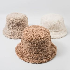 Women Student Thicken Fuzzy Plush Bucket Hat Solid Color Casual Winter Warmer Round Flat Top Wide Brim Sunscreen Panama Fisherma