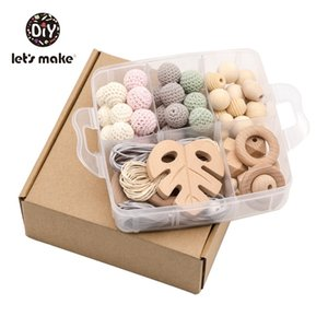 Let's Make Baby Toys DIY Product Crochet Beads Wooden Rings Teether Wood Beads Set Box Trojan Rabbit Leaves Rattles For Newborns Z1124