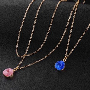 Fashion Design Resin Stone Druzy Necklaces 5 Colors Gold Plated Geometry Stone Pendant Necklace For Elegant Women Fashion Jewelry