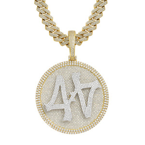 Mens Hip Hop Bling Jewelry Gift Gold Plated Bling CZ Large Spinner Number 44 Pendant Necklace for Me Women with CZ Cuban Chain