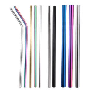 Metal straw Straw 304 Stainless Steel Straws Creative Color Metal Beverage Cocktail Milk Tea Straws Silicone Set Designer Kitchen Accessorie