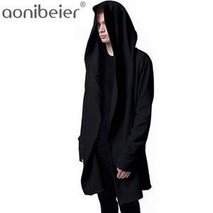 Aonibeier Men Hooded Sweatshirts With Black Gown Hip Hop Mantle Hoodies Fashion Jacket long Sleeves Cloak Man's Coats Outwear 201124