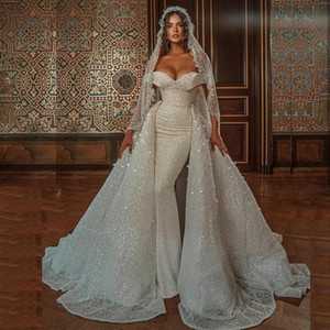 Brilliant Sequin Mermaid Castle Wedding Dresses Off the Shoulder Detachable Train Pearls Bridal Gowns Arabic Dubai Vestidos De Noiva