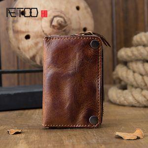 حقيبة مفتاح البقر HBP AETOO، الذكور الجلود متعددة الوظائف حالة مفتاح سعة كبيرة، محفظة عملة، محفظة سحاب الخصر