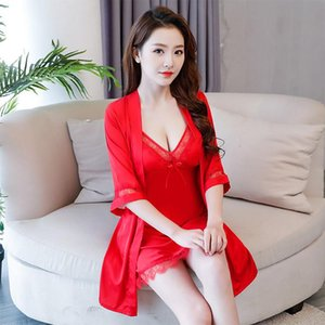 M-XL Red Bride Wedding 2PCS Robe Gown Sets Sexy Hollow Out Lace Trim Bathrobe Kimono Nightdress Rayon Sleepwear Nightwear