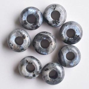 10 unids Natural Larvikite Forma redonda Agujero grande Cuenta colgante 13x7mm, agujero: 5mm sh6995