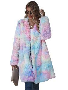 Women Winter Rainbow Tie Dye Teddy Coats and Jackets Streetwear Faux Fur Polar Fleece Plush Oversized