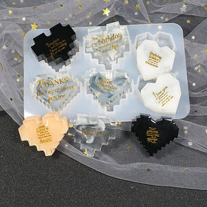 DIY Epoxy Resin Silicone Molds Valentine's Day Drop Glue Pixel Geometry Heart Shaped Crystal Mould Craft Tools 6 Pcs One Set M2