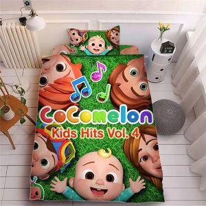 Çocuk Cocomelon Ji 3D Baskı Çarşaf Üç Parçalı Setleri Yastık Kılıfı + Çarşaf + Yorgan Kapak Yatakları Çocuklar Cocomelon Malzemeleri