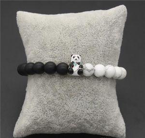 Lovely Bangles Beads & Panda Gift & Black Animal Bracelets Stone 8mm Natural Bracelet White Jewelry sqcdd hat7890