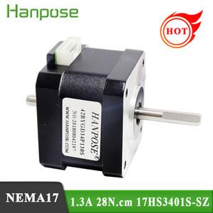 무료 배송 NEMA17 더블 샤프트 모터 1.3A 28N.CM 4- 리드 17HS3401S-SZ 스테퍼 모터 CNC 라우터 조각 밀링 머신