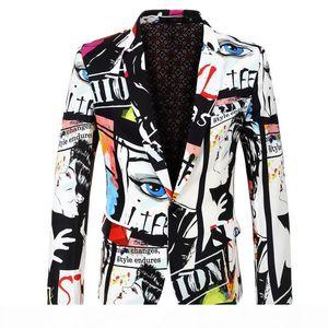 Mens Designer Blazers Fashion Digital Printed Suit with Single Button Mens Spring Jacket