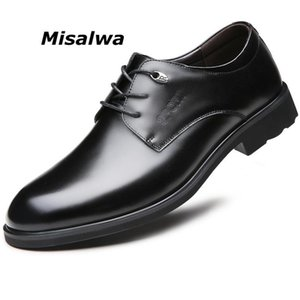 Misalwa Tradditional Men Derby Sapatos Couro Oficial Básico Homens Business Dress Sapatos Preto