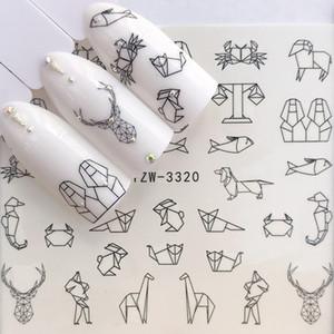 1 Sheet Water Nail Stickers Black Cartoon Animal Flamingo Fox Hollow Designs Sliders For Nail Decals DIY Manicure Decora