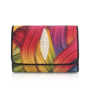 yuanhui Thailand new Pearl fish Brief Female women wallet color stingray skin Q1119