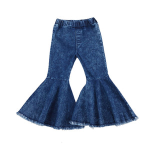 Brand Jeans Toddler Baby Kids Children Girls Clothes Bell Bottom Hole Ripped Ruffles Flare Denim Pants Trousers