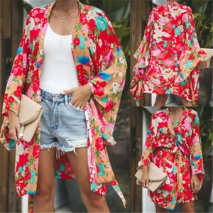 Women,s Long Sleeve Floral Casual Coat Loose kimono Long Cardigan S-XL New Open stitch Printed Jacket