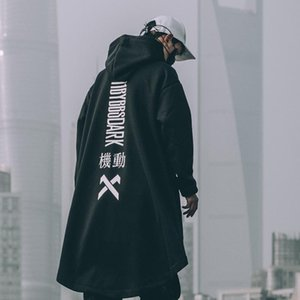 2020 Letter Embroidered Hip Hop Cloak Long Jacket Men Casual Streetwear Harajuku Pockets Turtleneck Trench Coats Male