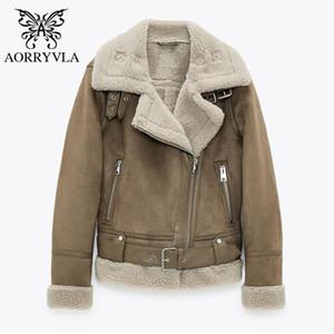 Aorryvla Yeni Moda Süet Koyun Koyun Kadınlar Için Kış 2020 Tam Kollu Down Yaka Faux Deri Lambswool Biker Ceket