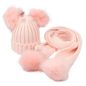 2020 Hot Sale Children's Hat Scarf Two-piece Set Men And Women Baby Fall Winter Warm Fur Ball Hat Surround Set