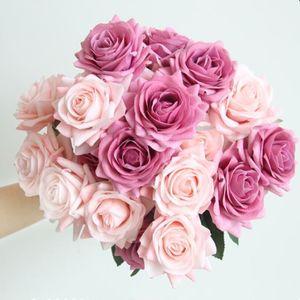 Rose idratante Fiore artificiale FAI DA TE Rose Bride Bouquet Flower Flower per decorazione di nozze Party Home Decori San Valentino