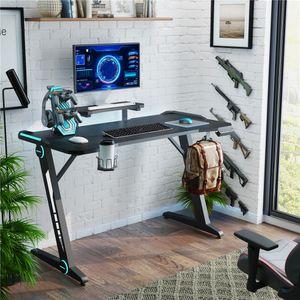 Waco Gaming Desk, Computer Desk Gamer Workstation con Monitor Stand Superficie in fibra di carbonio Luci RGB, W / Tazza HolderHeadphone Gancio ecc
