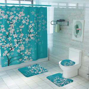 Cherry Blossoms Print Fabric Shower Curtains Bathroom Curtain Set Flower Anti-skid Rugs Carpet Toilet Lid Cover Bath Mat Sets