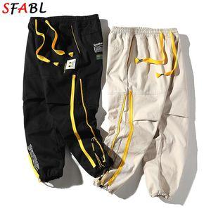 Sfabl streetwear streetwear hombres harén pantalones japoneses casuales pantalones de algodón hombres jogger pantalones negro hip hop cargando joven hombre